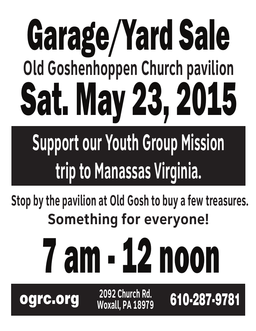2015 Annual Youth Group Flea Market/Yard Sale – Old